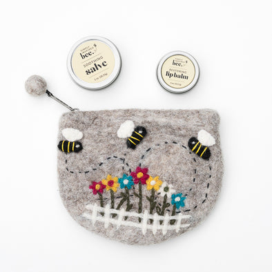 Felted Wool Garden Bee Bag + Hand Salve + Lip Balm Gift Set