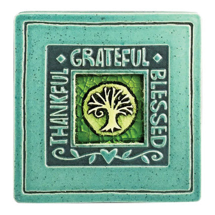 Handcrafted Ceramic Coaster | Thankful - Grateful - Blessed