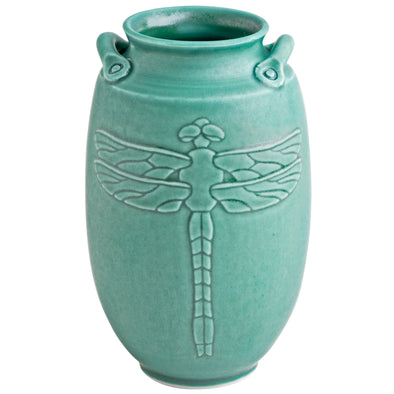 Handmade Japanese Inspired Dragonfly Vase in Jade Green
