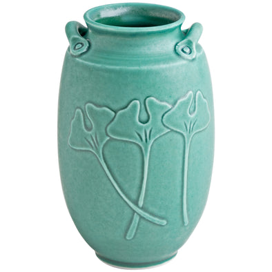 Handmade Japanese Inspired Gingko Vase in Jade Green