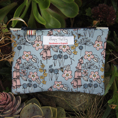 Blue Wild Flowers Flat Purse with Keyring