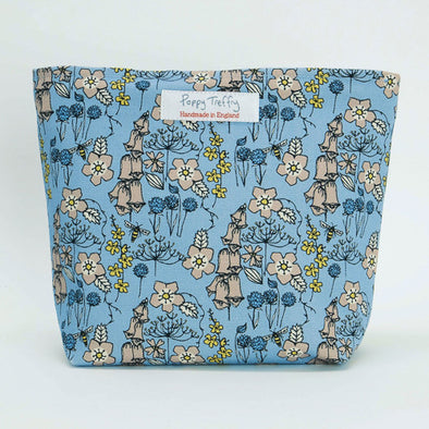 Blue Wild Flowers Make Up Bag