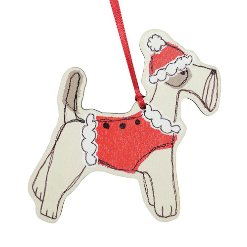 Christmas Fox Terrier Dingly Dangly Ornament
