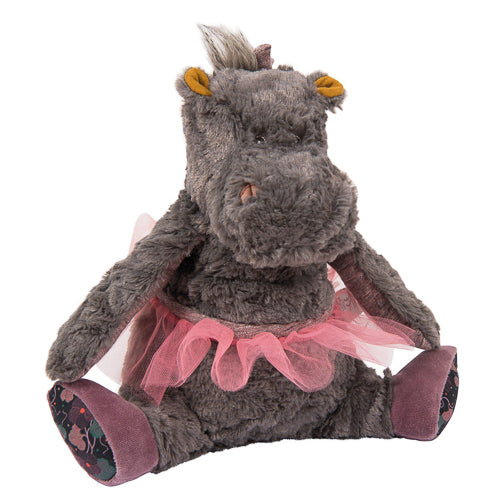 Non-toxic stuffed toy ballerina Hippo, Camelia, from Moulin Roty would make a unique keepsake gift for baby or toddler.