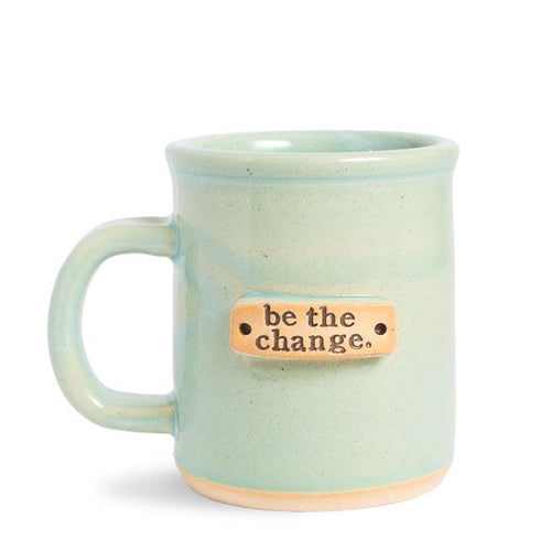 """Be the Change"" Handcrafted Affirmation Coffee Mug - Light Green"
