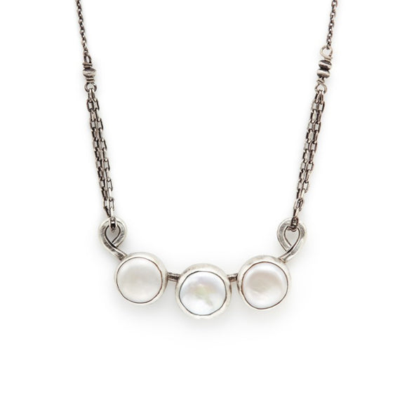 Triple White Coin Pearl Necklace