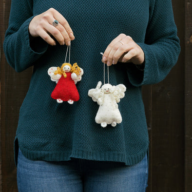 Joyous Angels Felted Wool Ornaments - Handcrafted Fair Trade