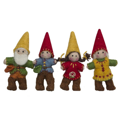 Felted Wool Gnome Family- 4pc