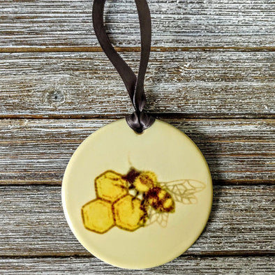 Hand Painted Bee + Honeycomb Ceramic Ornament