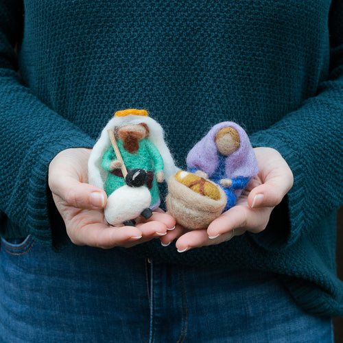 Felted Wool Holy Family Mini Nativity