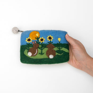 Two Rabbits Felted Wool Zipper Bag - Handcrafted Fair Trade