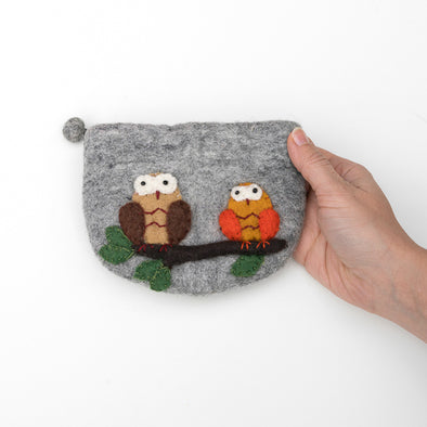 Two Owls Felted Wool Zipper Bag - Handcrafted Fair Trade