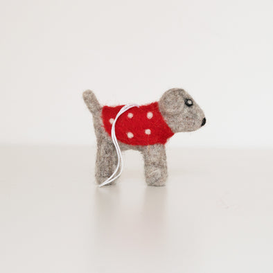 Party Dog Felted Wool Ornament - Handcrafted + Fair Trade