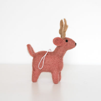 Pretty in Pink Deer Felted Wool Ornament - Handcrafted + Fair Trade