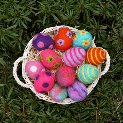 Colorful Felted Wool Easter Eggs
