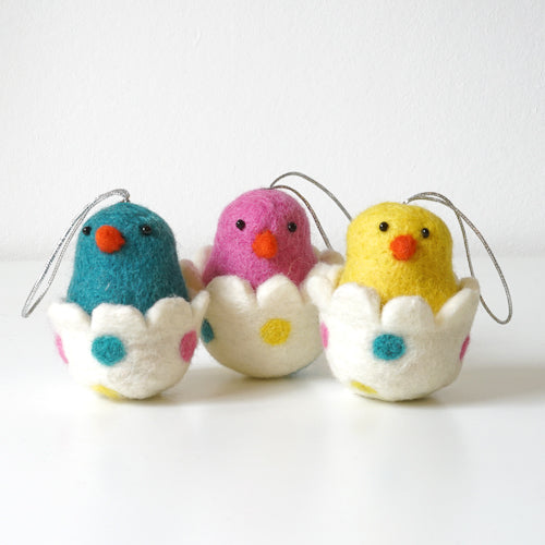 Colorful Hatching Easter Chicks in Eggs