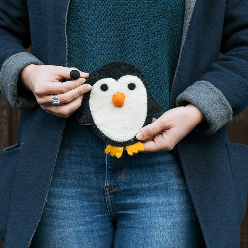 Kindly Penguin Felted Wool Zipper Bag - Handcrafted Fair Trade