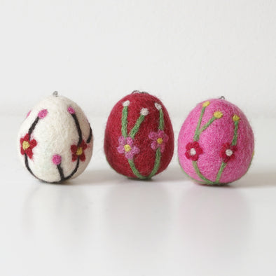 Felted Wool Easter Eggs - Flowers