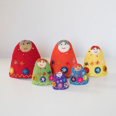 Felted Wool Rainbow Babushka Dolls