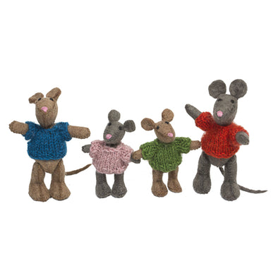 Felted Wool Mouse Family- 4pc