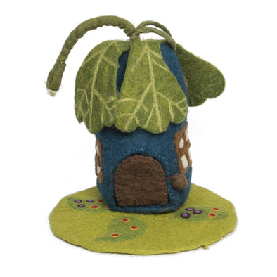 Felted Wool Oak Leaf Fairy House and Mat