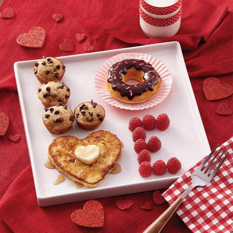 Heart-shaped breakfast foods