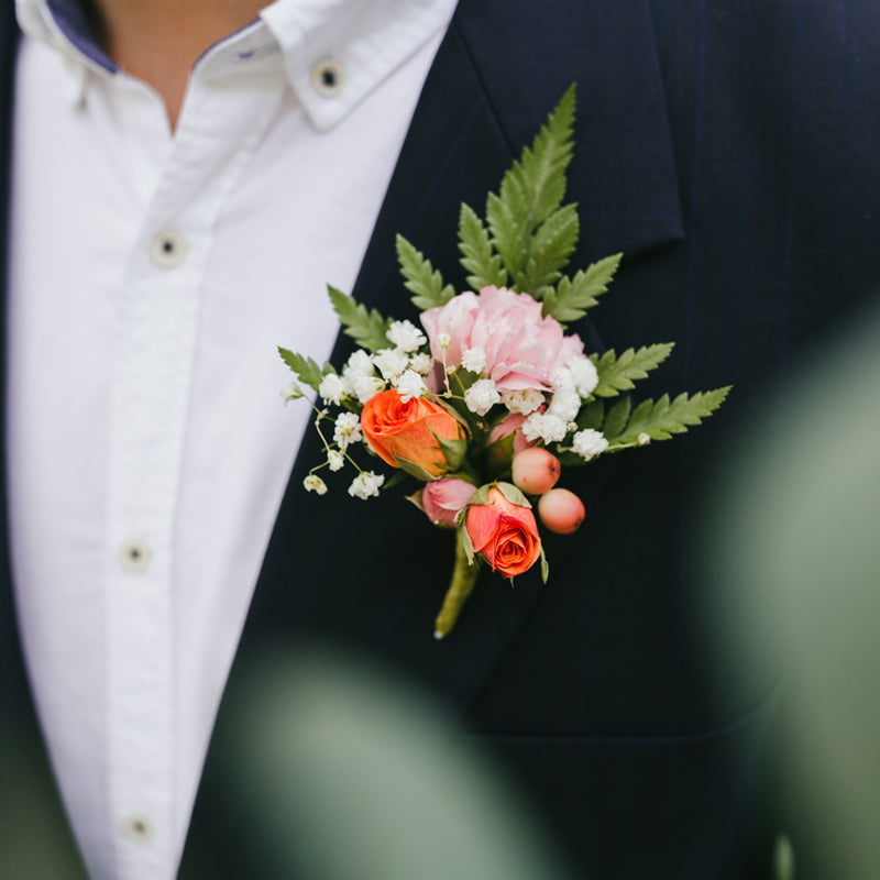 Peaches and cream boutonniere bemyrose glam meets boho large wedding package junglespirit Images