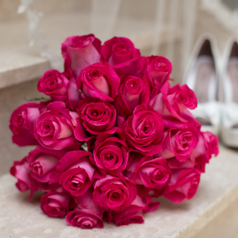Hot Pink Roses Bridal Bouquet - BeMyRose