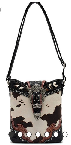 Western cow print cross body bag