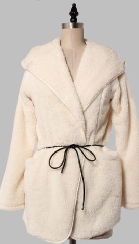 Soft and cozy hooded jacket with leather belt/tie.