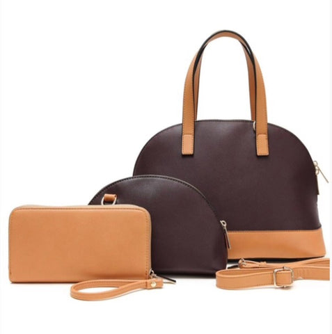 Two tone handbag with wallet & cosmetic bag