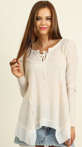 Long sleeve knit tunic top beige & white stripes laces up the front