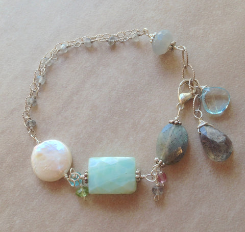 Blue opal, coin pearl and labradorite sterling silver bracelet.