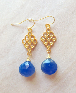 """Azure seas"" briolette earrings."