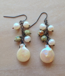 Coin pearl and rhyolite cluster earrings.