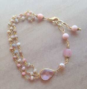 Pink opal, pink Quartz and pearl gold fill bracelet.