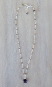 Smoky Quartz beaded chain necklace.
