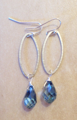 Mystic blue topaz crystal drop earrings.