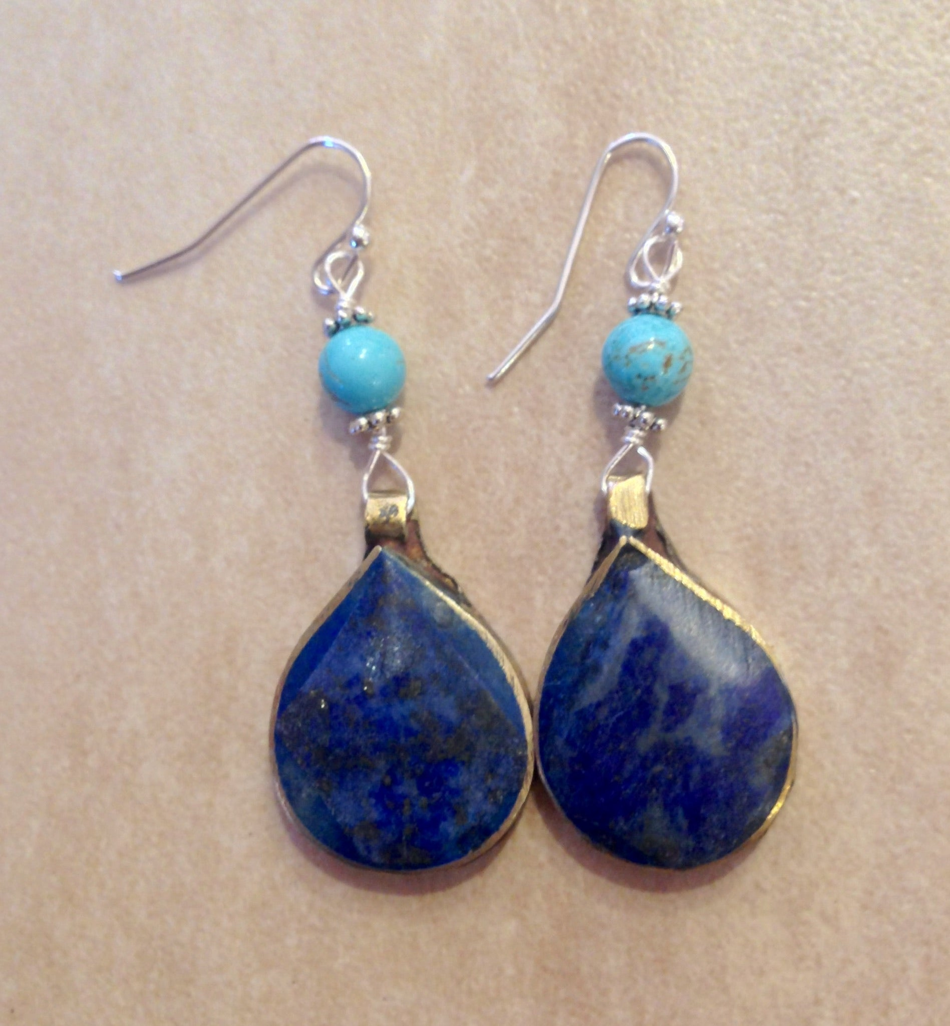 Lapis and turquoise drop earrings.