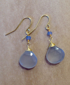 Blue denim chalcedony earrings.