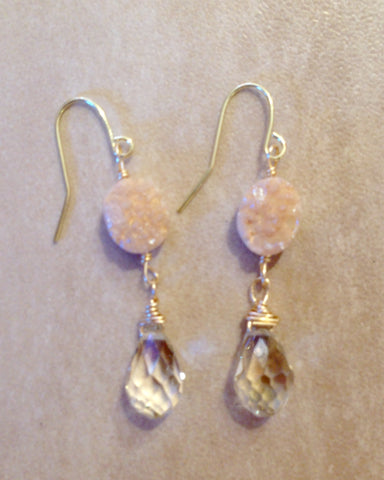 Druzy Quartz and champagne crystal drop earrings.