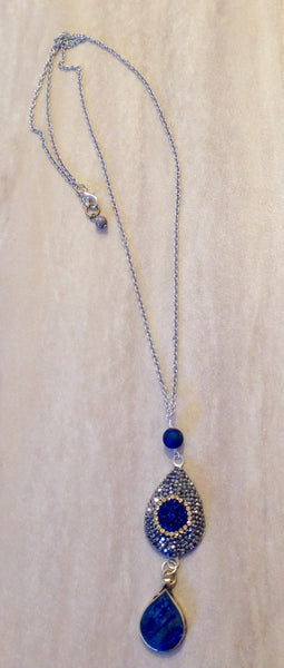 Druzy Quartz, Markasite and Lapis lariat.