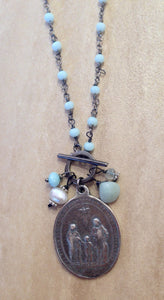"""Someone to watch over me"" religious medallion neckalace."