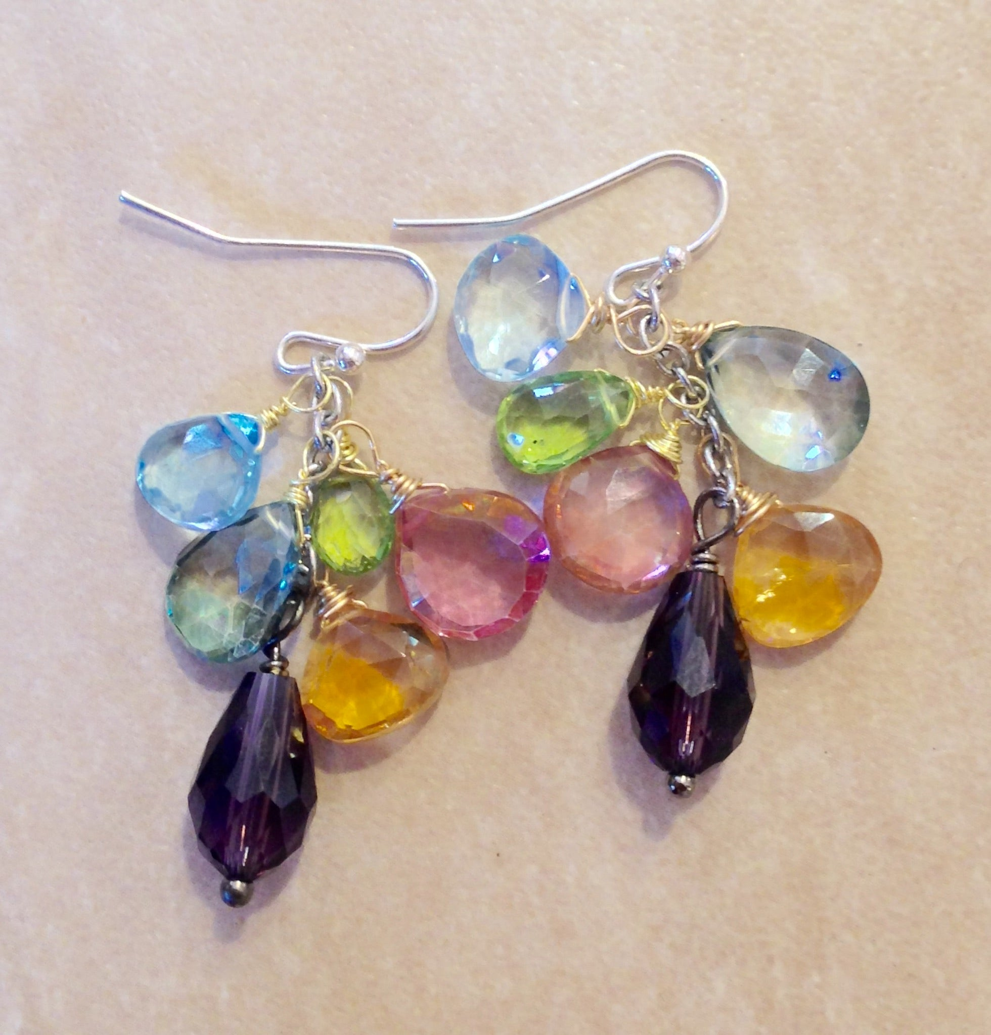 wrapped collections thumbnail rainbow point earrings original wire titanium quartz products jewelry