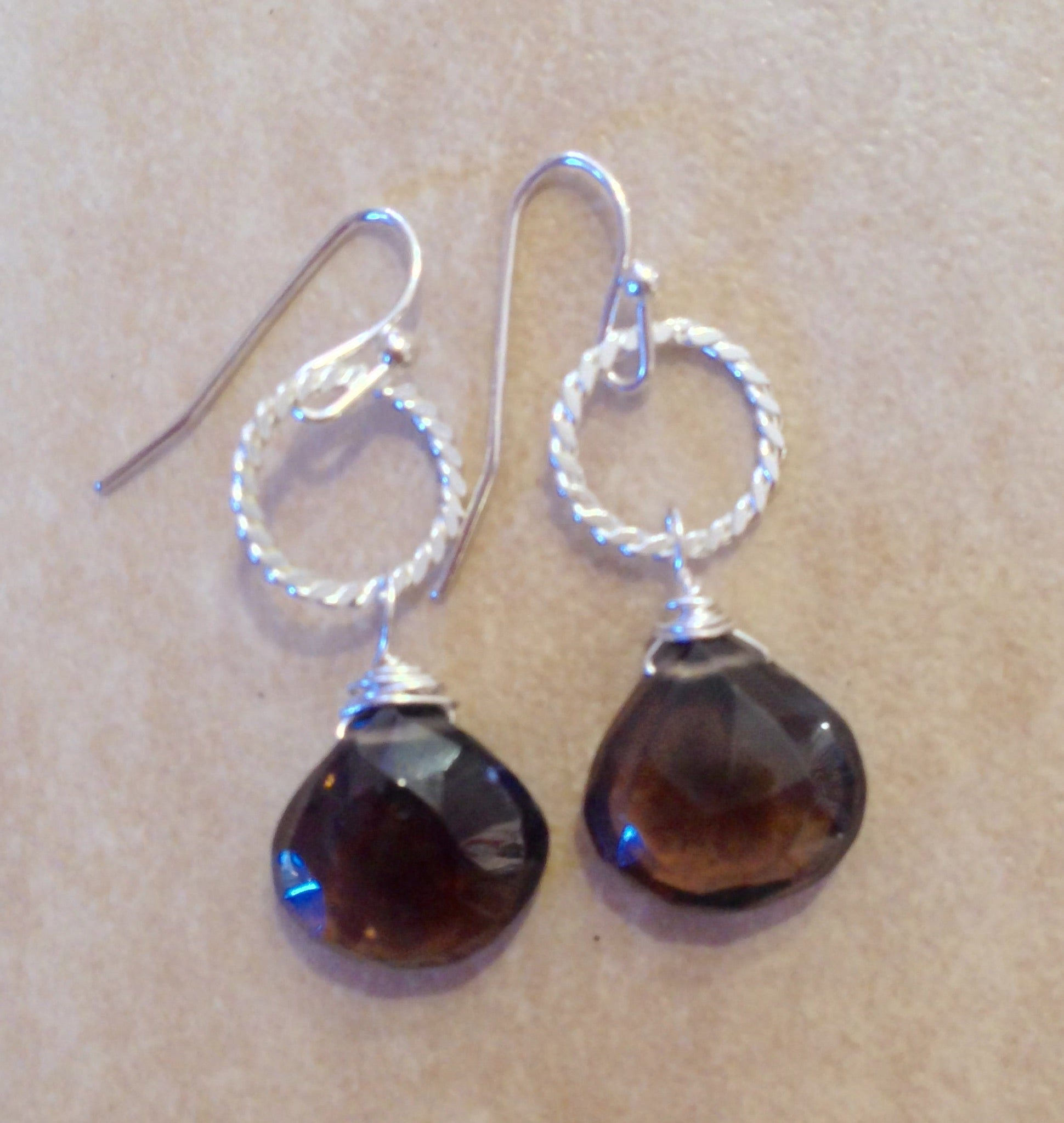 Smoky Quartz drop earrings.