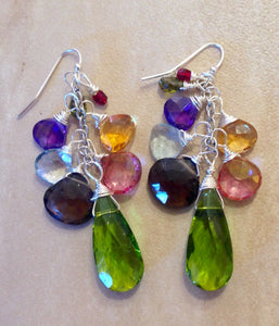 Rainbow of gems clister earrings.