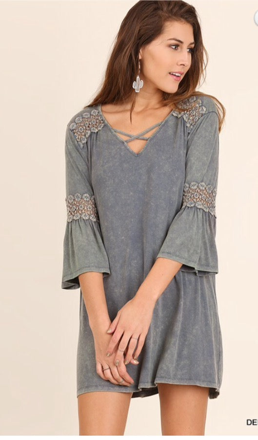 Denim wash Tunic dress/top with crochet