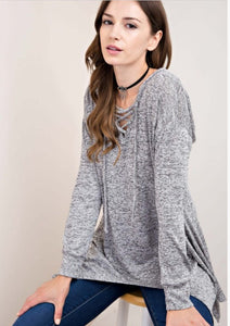 Knit tunic top with hood
