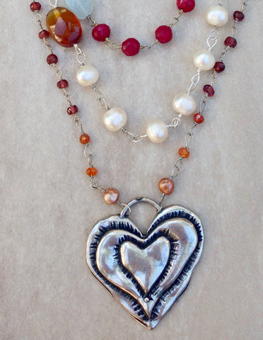 """Boho Chic"" Ruby, Turquoise and pearl necklace."