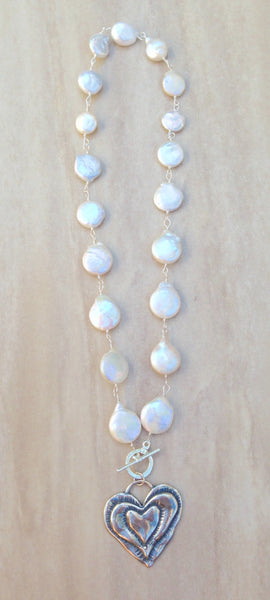 """Infinite Love"" Coin Pearl necklace"